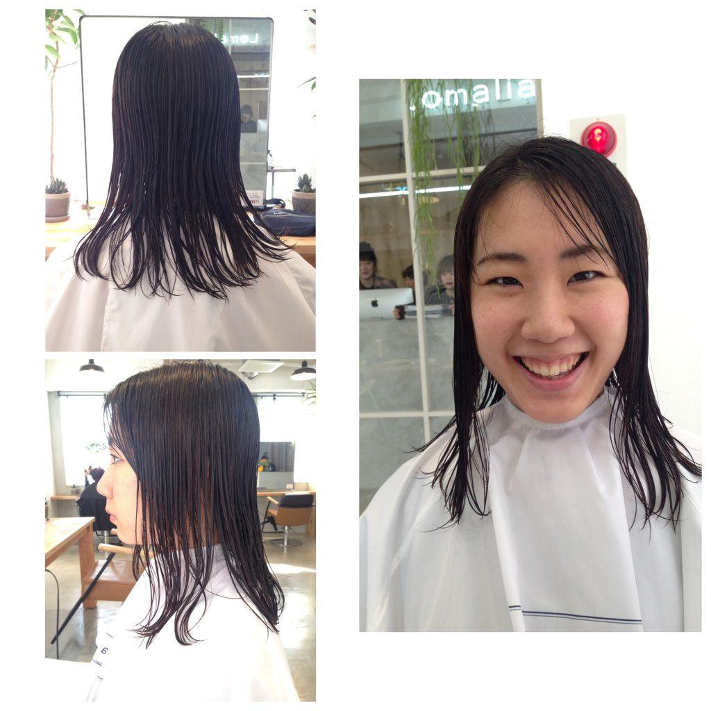 ニコニコ笑顔のMOEMUちゃんの髪質
