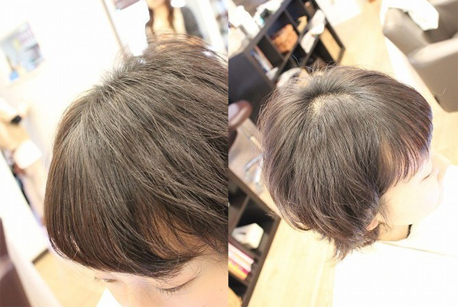 前髪とトップのグリドラ完了