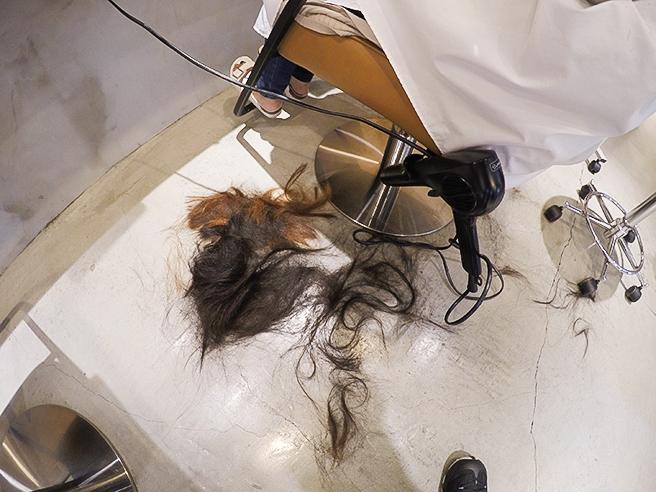バッサリカットされた髪の毛