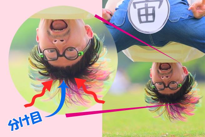 重力に引っぱられたニワちゃんの髪