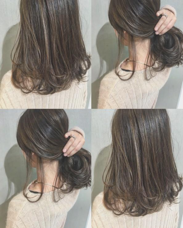 たっぷり細ハイライトのストレートヘア