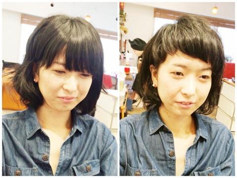 ビフォー&アフター、前髪の変化