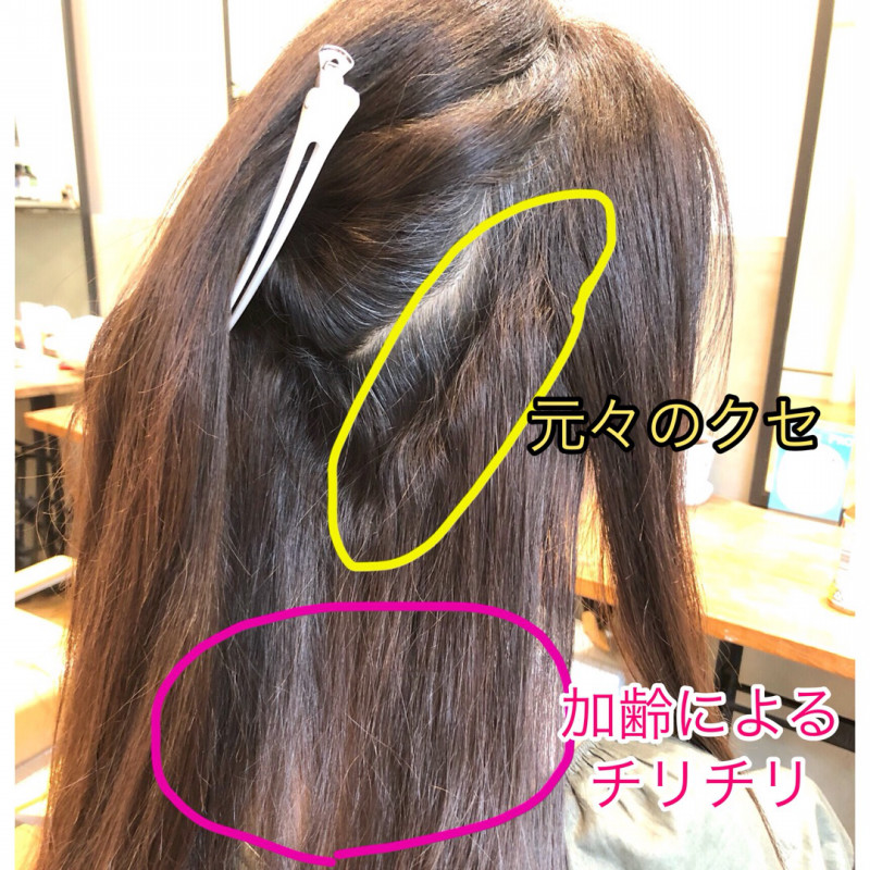 チリチリ毛 加齢によるクセ毛