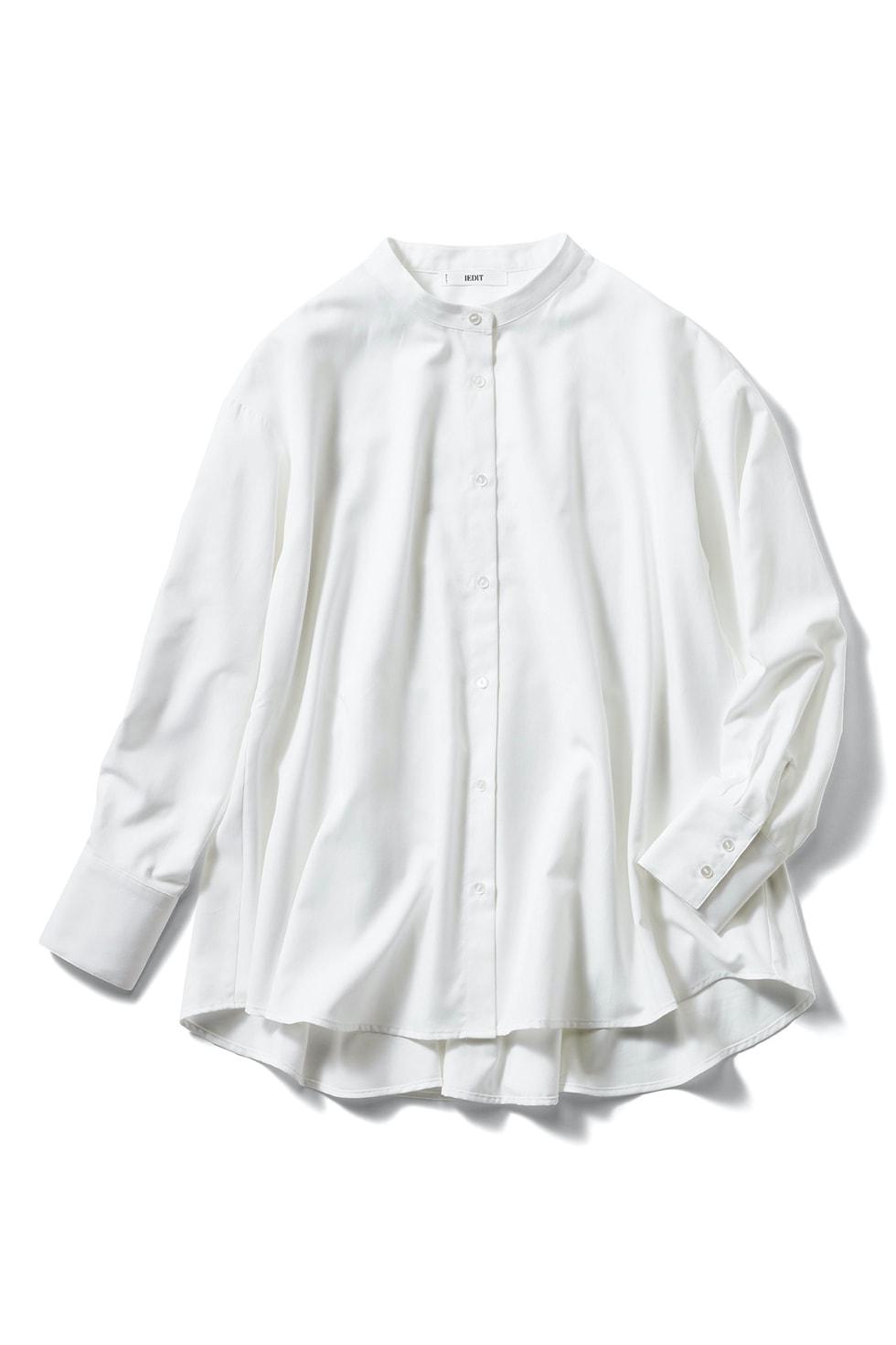 IEDIT[イディット] UVカット&防汚加工 クレバー素材のしなやかドレスシャツ〈フレアー〉
